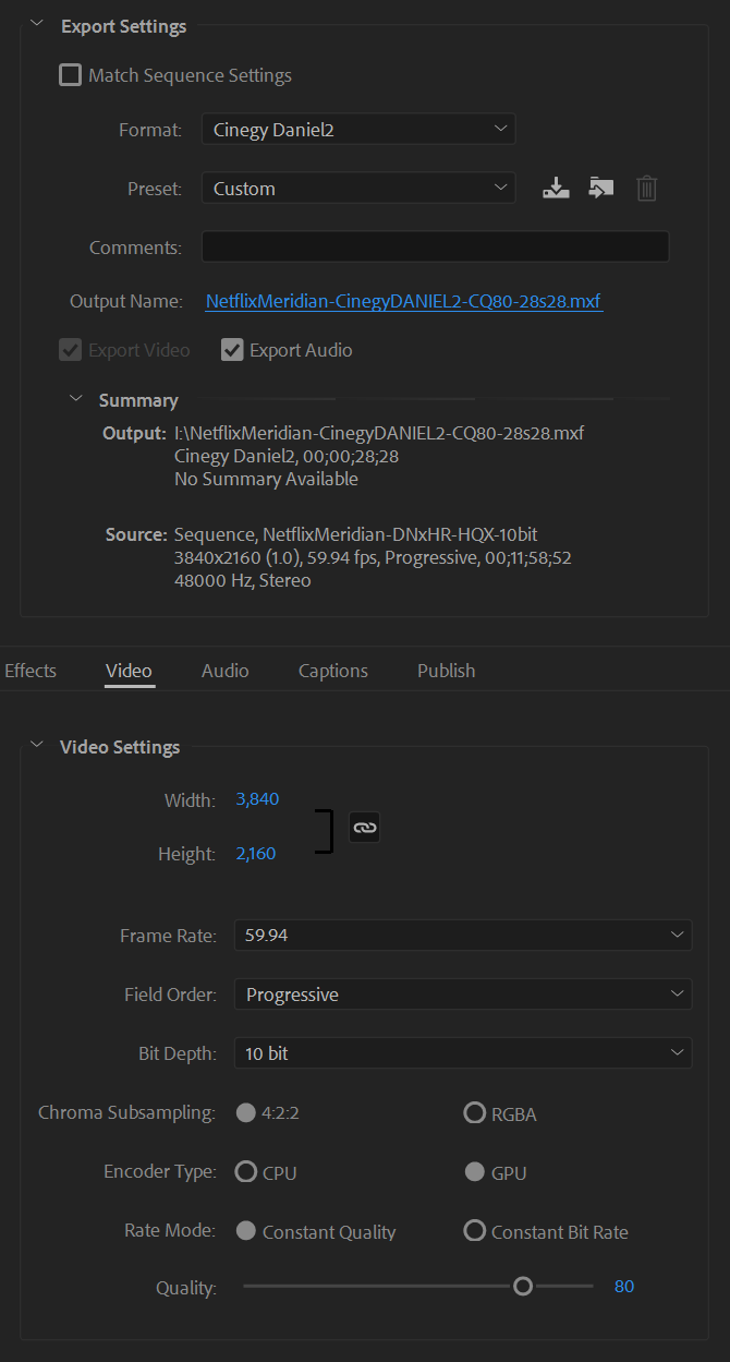 Adobe Premiere Daniel2 Export Settings